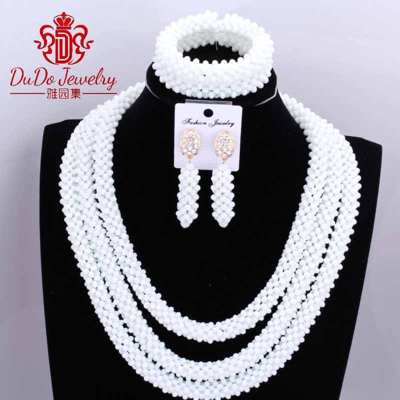 Milk White Delicate 3 Layers Coral Nigerian Wedding African Beads Jewelry Set Dubai Coral Beads Bridal Christmas Jewelry SetsMilk White Delicate 3 Layers Coral Nigerian Wedding African Beads Jewelry Set Dubai Coral Beads Bridal Christmas Jewelry Sets