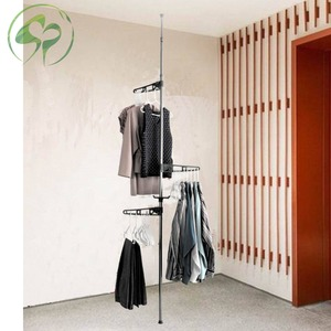 Image 5 - Floor to Ceiling Coat Rack Clothes Drying with Standing Type Clothing Hanger Free Standing With 4 Hooks Wood Tree Coat Rack