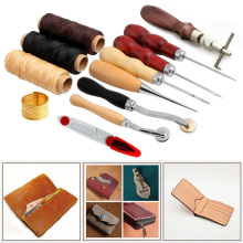 Poratble 14 pcs Scissor Cutting Equipment Craft Tools Kit  Awl Waxed Thimble Needle Sewing Leather Sets Dropshipping стоимость