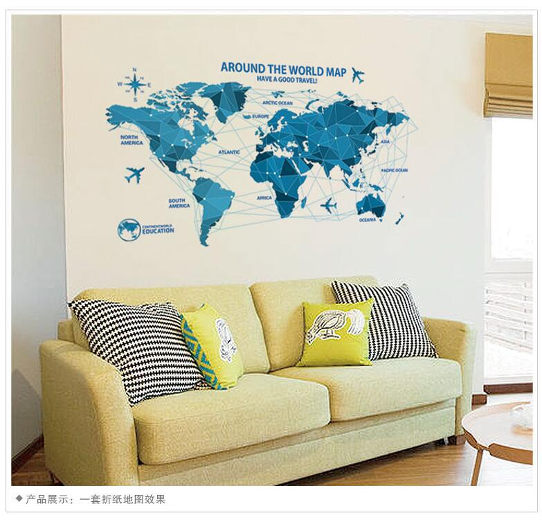 Blue World Map Removable Wall Sticker Home Decorations Vinyl Wall ...