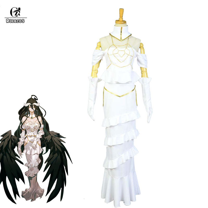 ROLECOS Overlord Anime Cosplay Costume Albedo Cosplay Costume White Sexy Women Dress Party Halloween Heroine