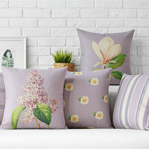 Nordic Lavender Flowers  Home Decor Pillow  Plaid and Stripers Linen Cotton Cushion Decorative Throw Pillows   Free Shipping