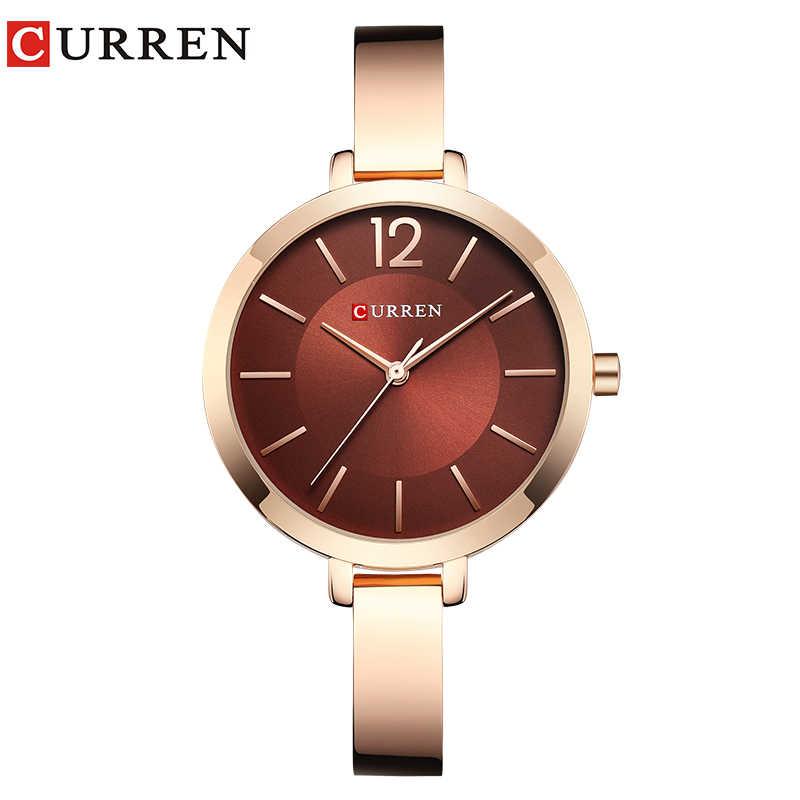 CURREN גבירותיי שעון יד מותג אופנה מזדמן נקבה שעון פופולרי צמיד קוורץ שעון Montre Femme Relogio Feminino