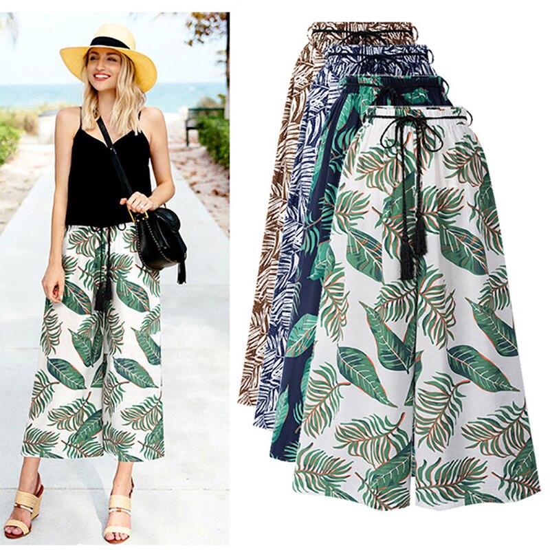 Plus Women's Summer Casual Retro Print Bohemian Wide Leg Pants High Waist Wide Legs Trousers Skirts Beach Holiday Pants 6XL