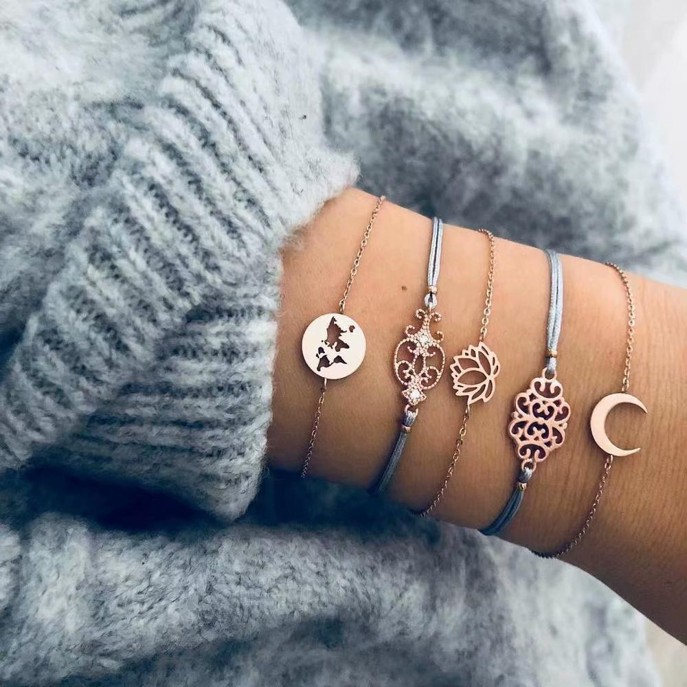 2019 New Fashion Gold Heart Flower Moon Geometric Bangle 5pcs For Women Open Mape Bracelets Set Gift Wholesale Women Jewelry in Charm Bracelets from Jewelry Accessories