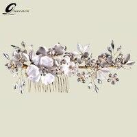 Luxury Wedding Floral Bridal Hair Comb Wedding Hair Vine Headpiece With Pearls Rhinestones And Flowers Hair