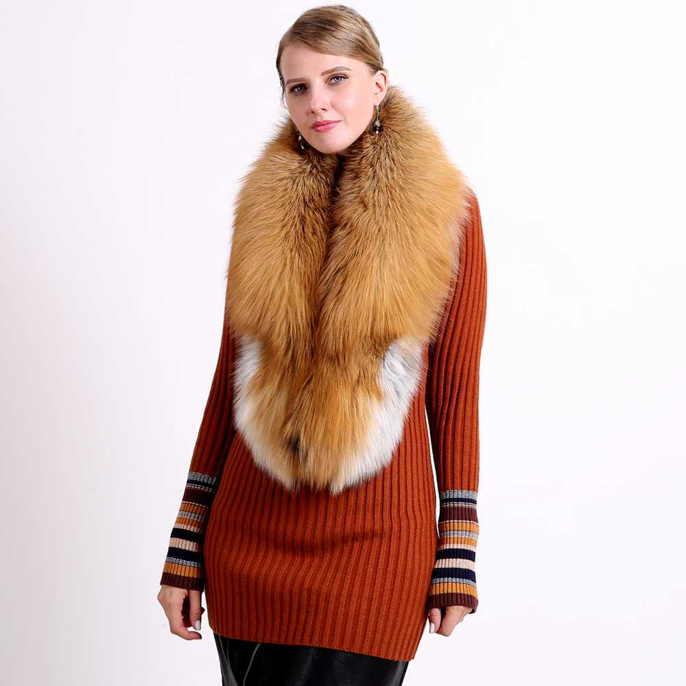 2018 Ring Fashion Solid Hot Sale Vinter 100% Natural Fur Shawl Luxury - Kläder tillbehör - Foto 3