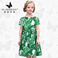 WL.MONSOON New children's clothing female summer large girls dress floral high waist green girl summer dress