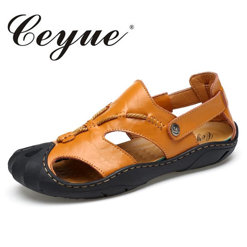 ceyue big size 37 45 mens sandals men leather sandals. Black Bedroom Furniture Sets. Home Design Ideas
