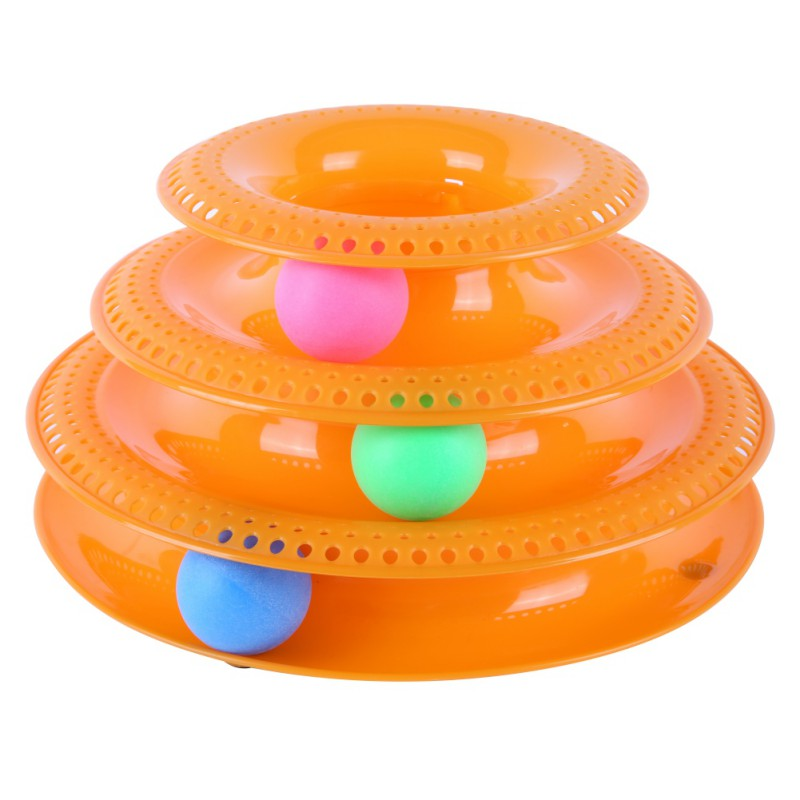 Three Levels Tower Tracks Disc Cat Pet Toy Intelligence Amusement Rides Shelf Dog Cat Toy Training Amusement Trilaminar Ball