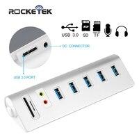 Rocketek Aluminium 6 Port Usb 3.0 Hub Interfejs Zasilania Zewnętrznego Stereo dźwięk Adapter TF SD Card Reader dla iMac MacBook Laptop PC