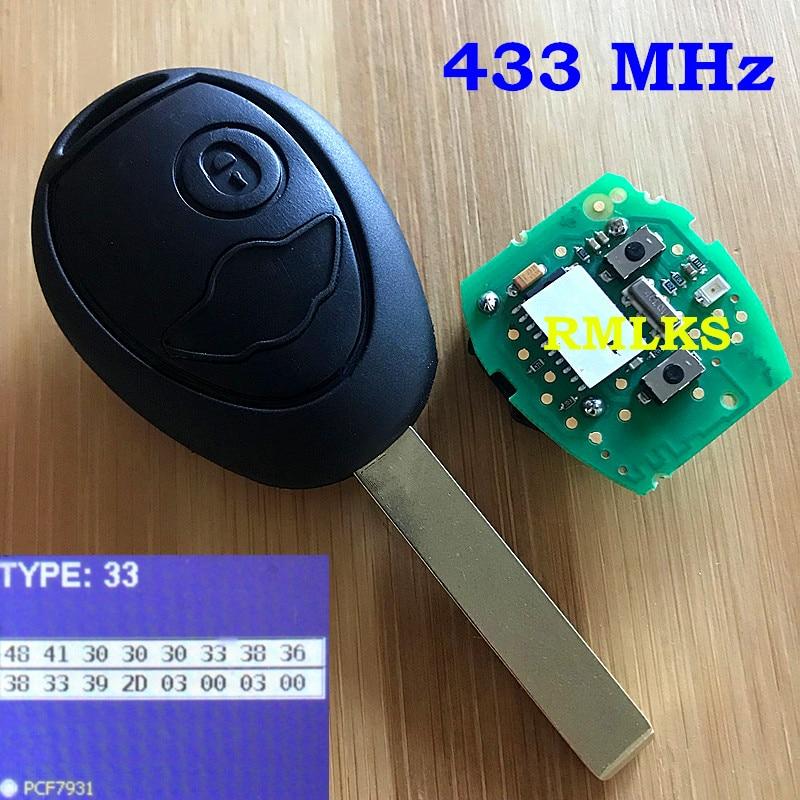 Nouveau remplacement sans clé télécommande porte-clés 2 boutons télécommande tête clé 433/315 Mhz ID73 puce pour BMW 2002-2005 MINI COOPER R50 R53
