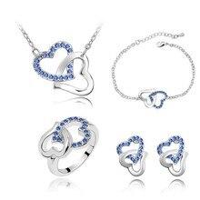 Модные ювелирные изделия из австрийского хрусталя, двойные подвески в виде сердца, ожерелье, браслет, браслеты, серьги, кольцо, ювелирные наборы