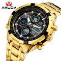 Brand AMUDA Fashion Digital Watch Men Led Full Steel Gold Mens Sports Quartz-Watch Military Army Male Watches relogio masculino