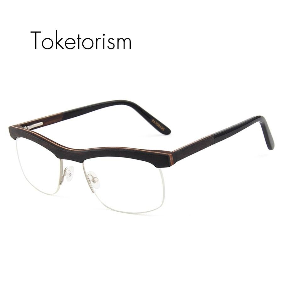 Toketorism haute qualité demi cadre lunettes en bois lunettes cadres lunettes de prescription rétro hommes femmes réel bois lunettes 6106