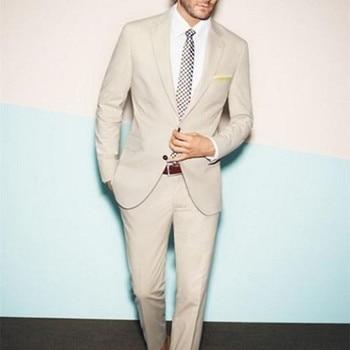 New 2017 wedding clothes men suit Custom Made Beige Wedding Tuxedos Cheap Three Piece Formal Groom Men Suits ( jacket+Pants+tie)