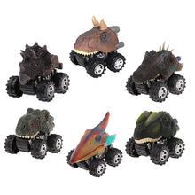 6pcs set Dinosaur Pull Back Car Rubber Plastic Mini Dinosaur Car Model Toy Children s Toys