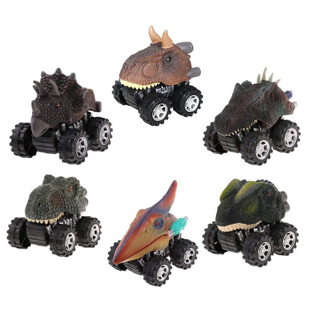 6pcs set Dinosaur Pull Back Car Rubber Plastic font b Mini b font Dinosaur Car Model
