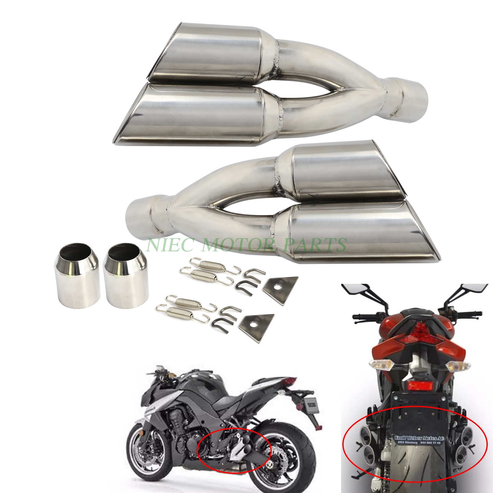 ФОТО Universal Dual Exhaust Muffler Pipe Slip On For Motorcycle Motocross Supermoto Street Bike Scooter ATV Quad Dirt Bike Off Road