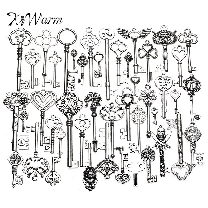 KiWarm 45 pcs Antique Vintage old look Ornate Skeleton Keys Lot Pendant Fancy Heart Necklace Hanging Decor DIY Jewerly Crafts