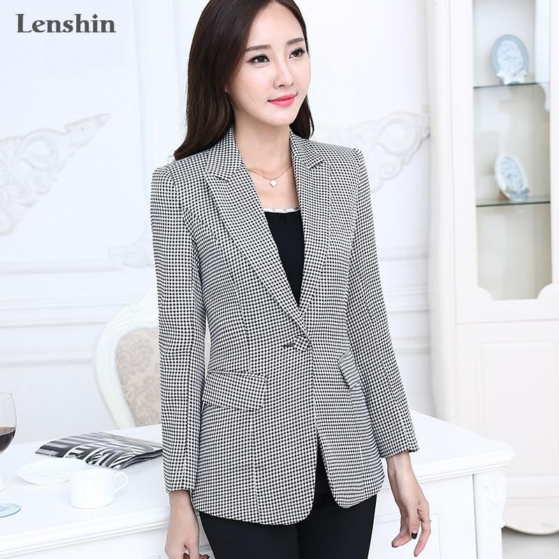 Lenshin Women Elegant Plaid Jacket Long Sleeve Swallow Gird Blazer Fashion Work Wear Slim Office Lady Coat Outwear Plus Size 7XL