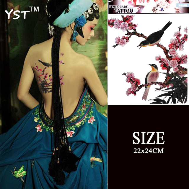 Chinese Style Ink Pating Temporary Tattoo Stickers Ladies Beauty Body Art Makeup Tattoo Back Plum Flower With Bird Designs