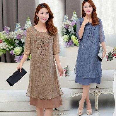 434a642e9f2 SexeMara Половина рукава шифоновые платья среднего возраста матери 2018  летние длинные платья большой Размеры Для женщин