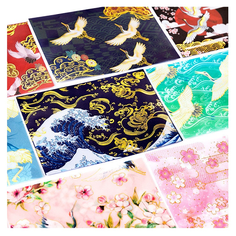 3 Envelopes+3 Sealing Stickers Bronzing Sulphuric Acid Paper Craft Paper Envelope Japanese Style Envelope