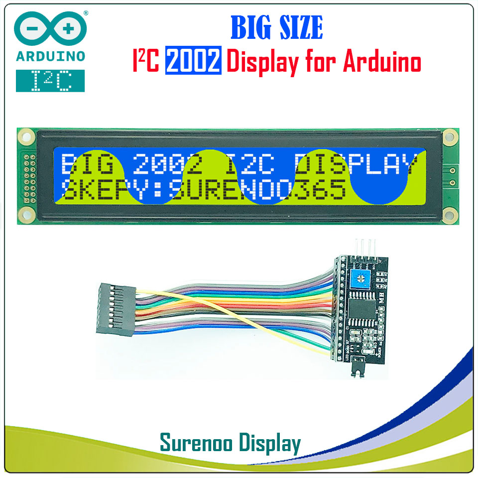 Serial IIC / I2C / TWI 2002 202 20*2 Larger Character LCD Module Display Yellow Green Blue with Backlight for ArduinoSerial IIC / I2C / TWI 2002 202 20*2 Larger Character LCD Module Display Yellow Green Blue with Backlight for Arduino