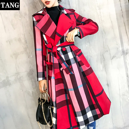 2019 Autumn New Women's Casual Long   Trench   Coat Plus size Double Breasted Vintage Plaid Business Outwear Loose Clothing