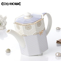 750ml Octagonal Simple Style Teapots Striped Coffee Teapot with Filter Hole Puer Tea Pot Samovar Ceramic Tea Ceremony Gift