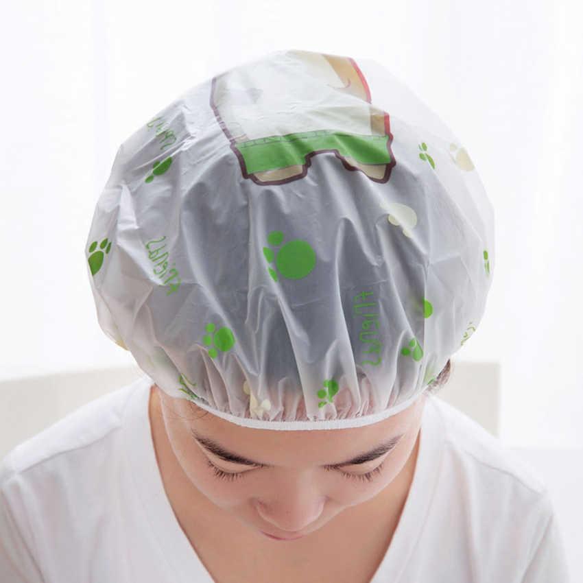 Tebal PEVA Dewasa Kartun Shower Cap Tahan Air Anti-Smoke Rambut Pelindung Penutup Topi untuk Kamar Mandi, Dapur, salon Rambut