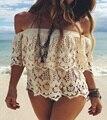 Túnica de playa Sexy traje de Baño Cover Up Mujeres beach cover up blusa Crochet Pareo encubrimientos del traje de Baño Verano de Las Mujeres ropa de Playa