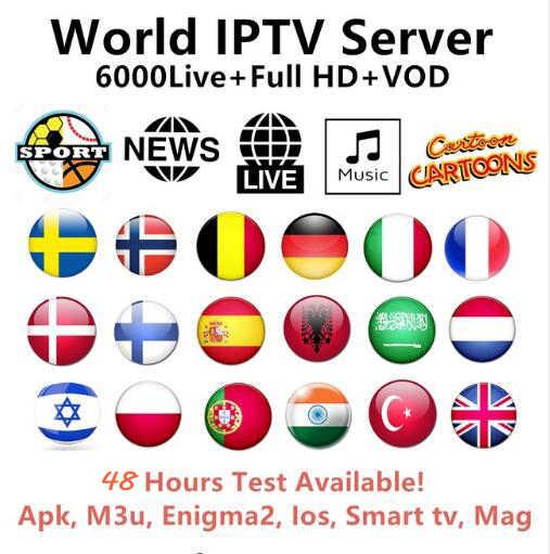Europe IPTV Subscription Rocksat France UK German Arabic Dutch Sweden French Poland Portugal Smart TV IPTV M3U 6000 Live