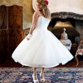 2016 Hot Sale Simple  White Tulle Sweetheart  Black Flower Belt  A Line Tea length  Wedding Dresses