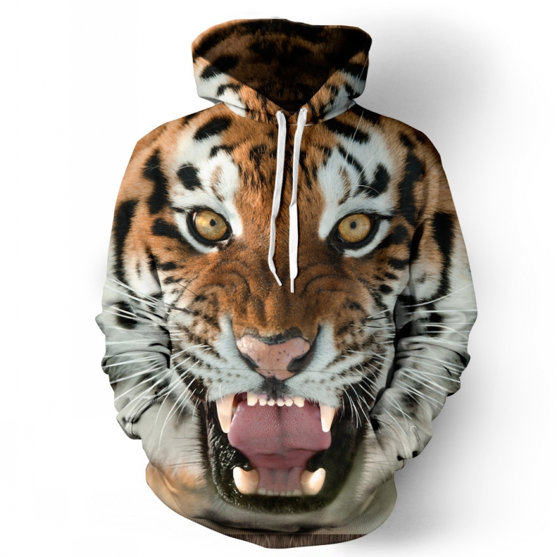 Mens <font><b>Hoodies</b></font> 2019 Fashion Brand <font><b>Animal</b></font> <font><b>3D</b></font> Tiger Print Streetwear Men Sweatshirts Casual Coat <font><b>Unisex</b></font> Pullovers Plus Size S-3XL image