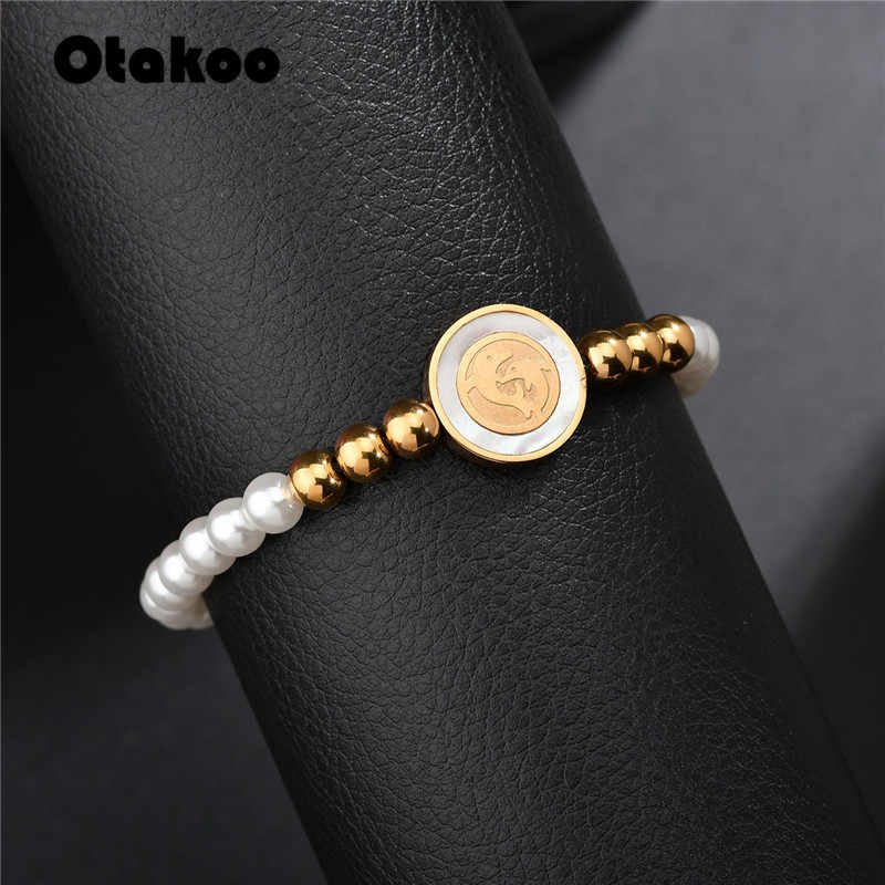 Otakoo Dolphin Charm Bracelet for Women  Gold Color Simple Ball Chain Accessories Stainless Steel Bracelets Jewelry