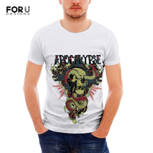 FORUDESIGNS Skull Print T-Shirt Personalisz Men T shirt Teenagers Cool Pattern Short Sleeve T-shirt for Males O-neck Summer Top round neck stars print body pattern short sleeve men s t shirt