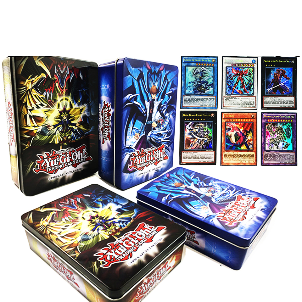 60PCS/Set English Yugioh Flash Cards With Fine Metal Box Collection Card Yu Gi Oh Game Paper Cards Toys For Children Gift