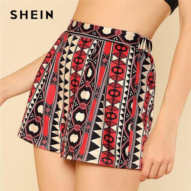 a050d1ef8f754 SHEIN Elastic Waist Geometric Print Suede Shorts Women High Waist Wide Leg  Clothing Tribal Shorts 2018