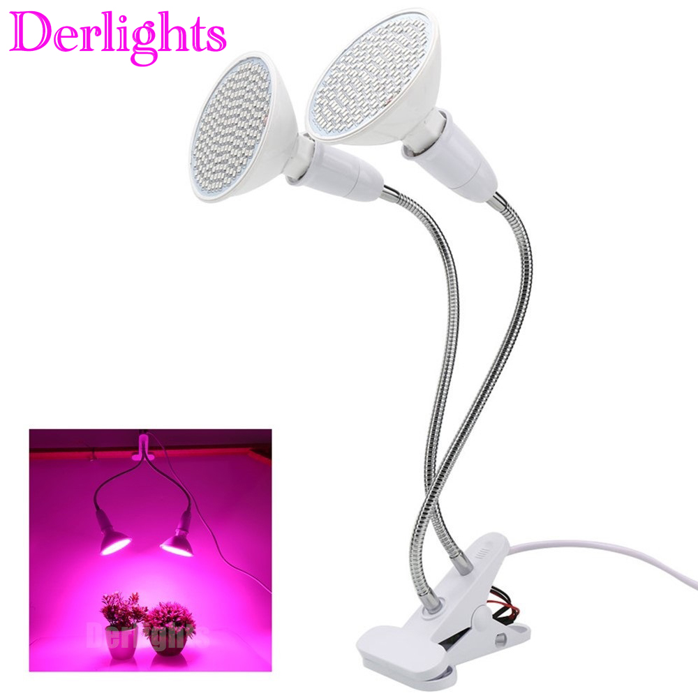 Dual Head LED Grow Light With Desk Holder Clip Growing Lamp For Indoor Greenhouse Flowering Plant And Hydroponics System