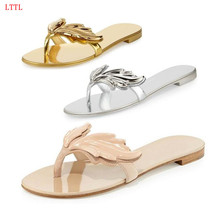 Cruel Summer Gold Silver Metallic Wing Sandal Shoes Woman Flat Thong Slide Sandals Women Plus Size Leaf Slippers Zapatos Mujer