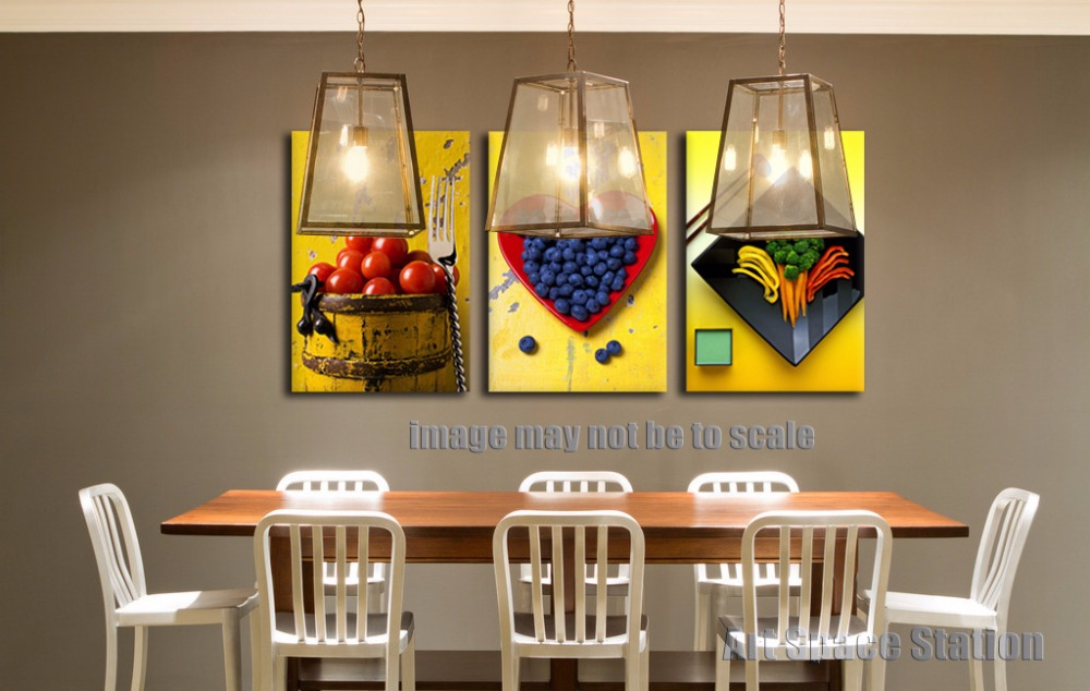Yellow Modern Abstract Canvas Art Painting PRINT Fruits Food Pictures Poster 3 Piece For Dining Room Kitchen Wall Decoration In Calligraphy From