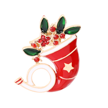 Merry Christmas Theme Brooch Pin Exquisite Beautiful Horn Best Gift Adornment For family And Friends