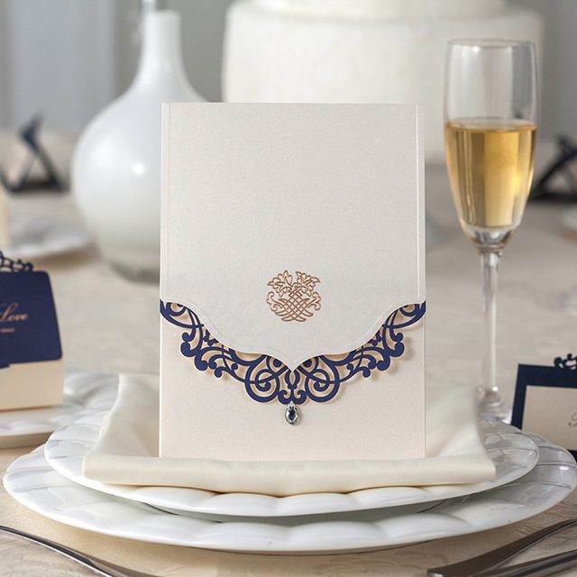 White Paper Blue Lace Laser Cut Wing Bling Diamond Wedding Invitation Cards Engagement Anniversary Envelopes