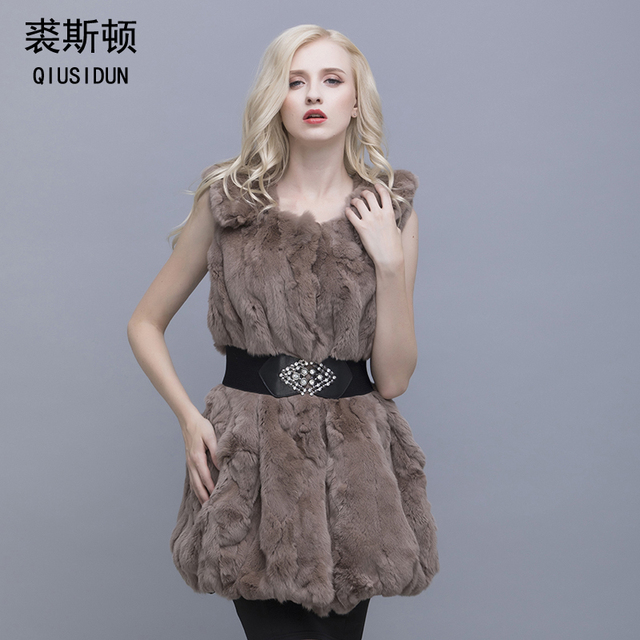 QIUSIDUN The Real Natural Rabbit Fur Lapel Vest Women's Waist Warm In Fashion Winter Long Large Vests 2017 Sleeveless Fur Vest