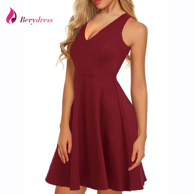 3e90ba167ae1 Berydress Women Dress V Neck Summer Dresses Burgundy Casual Female