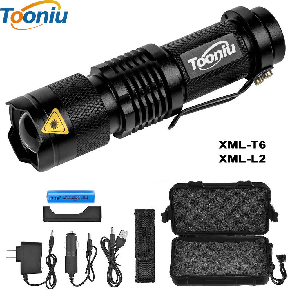 Tooniu Mini Zoom cree XML L2 Flashlight Led Torch 5 mode 3800 Lumens waterproof 18650 Rechargeable battery adjustable cree xm l t6 flashlight zoom 3800 lumens 18650 rechargeable battery xml t6 led torch flash light 3800lm charger bike