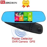 3 in 1 Radar detector DVR Video Recorder Car GPS 5.0 Rearview Mirror Camera Dual Lens 1080p FHD Dash Cam Registrator
