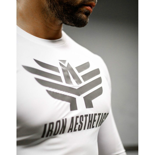 Men T-Shirts Compression Shirt Rashgard Tight Crossfit Long Sleeve T-shirt Bodybuilding Fitness Clothing Dry Fit Tee Shirt Top